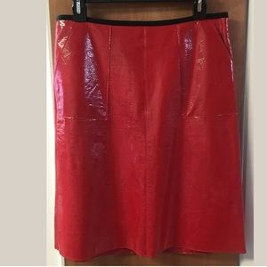 Tom K Nguyen Red Patent Leather Pencil Skirt 8